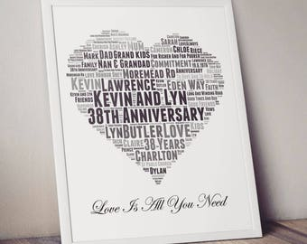 Personalised framed heart wordart