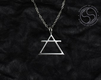 Air Symbol Pendant Stainless Steel Jewelry Alchemical Necklace Keychain Logo Upward Triangle Emblem Air Element Amulet Talisman Sign Charm