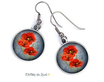 Poppies, poppies, red flowers, surgical steel ref.149 ear jackets