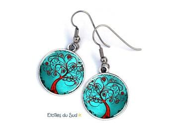tree of life, blue earrings, trees, nature, surgical steel hooks, ref:358