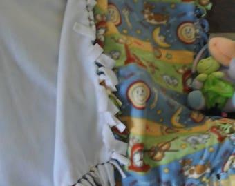 "No Sew Fleece ""Cow Jumped Over the Moon"" Baby Blanket"