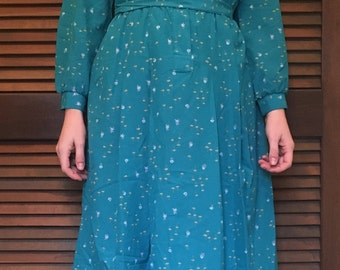 Vintage Long-Sleeve 1970s Teal Floral Bayard Sport Shirtdress with Tie Belt