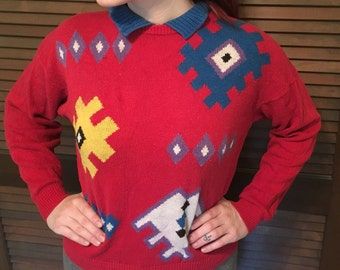 Vintage 1980s/90s Counterparts Petites Red Geometric Collared Sweater