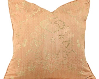 """Peach and Gold Handmade Decorative 20"""" Pillow and Lumbar Cover"""