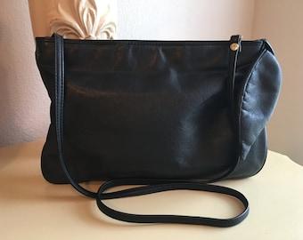 Vintage Brio Black Leather Clutch/Shoulder Bag