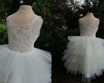 CALLI Ivory Lace Tulle Flower Girl Dress Wedding Bridesmaid Dress