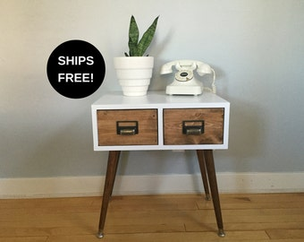 Handmade card catalog table, two drawer mid century end table, mid century side table, mid century table, mid century modern