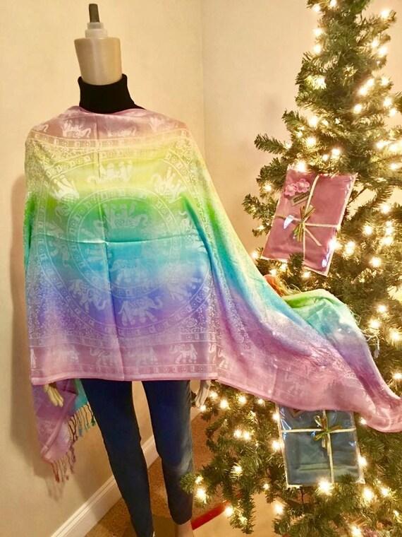 Rainbow and Elephant Scarf! High Quality Pashmina 100% Cashmere
