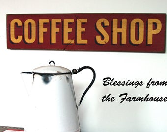 COFFEE SHOP wood sign Fixer Upper Stlye Rustic Reclaimed wood