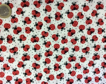 High quality cotton poplin dyed in Japan, ladybugs print