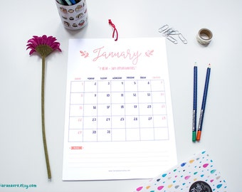 Printable 2017 Calendar - 12 Month Calendar - A4 2017 Planner - Instant Download
