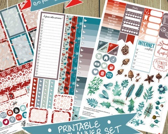 Winter Red-Blue Week Set Stickers for Large Big Happy Planners (Digital PDF File/Printable)