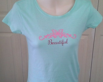 Beautiful Butterfly Flourish T-Shirt - Girls/Kids/Youth ~ Customise Your Own Design Colour