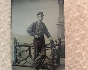 """Vintage Tin Type Photo Man Smoking Cigar 4"""" X 2.5"""""""
