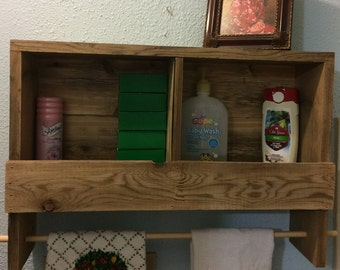 Rustic reclaimed cedar bathroom shelf with towel rack