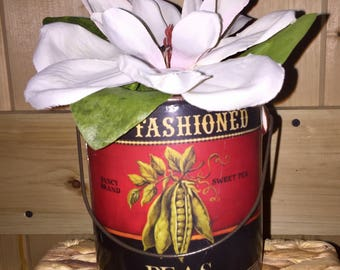 Rustic tin pail with faux Magnolia Blossom