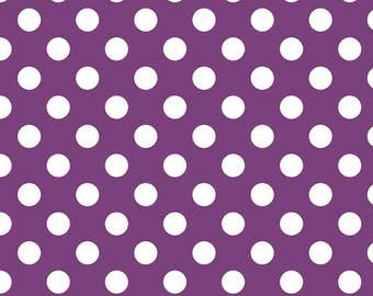 Purple Polka Dot Fabric - Riley Blake Medium Dot - Purple and White Dot Fabric
