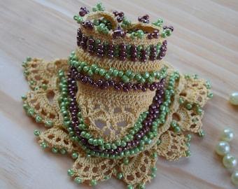 Crochet Cuff Bracelet,Bohemian jewelry, Crochet Cuff, Beaded Crochet Cuff Bracelet, Boho Cuff, Colorful Crochet Bracelet, Crochet Jewelry
