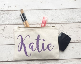 PURPLE glitter Personalised make up bag | Personalised gift | Bridesmaid gift  | Personalised Birthday Present | Wash bag | Personalised gli