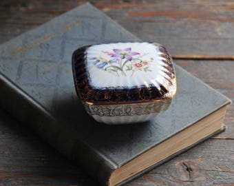 vintage P M German porcelain box, cobalt blue and gold porcelain jewelry box, floral porcelain trinket dish