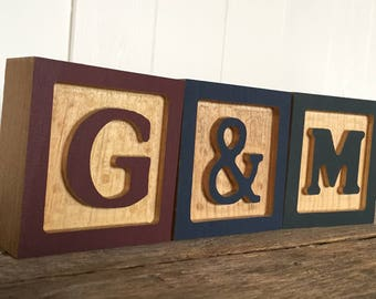 Wooden Letter Blocks, Wooden Alphabet Block, ABC Block, Birthday Gift, Baby Shower Gift