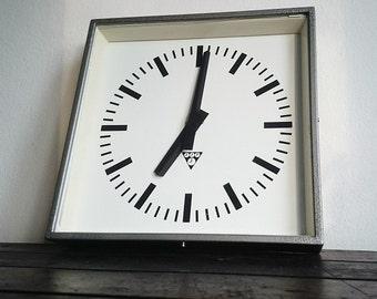 vintage wall Industrial  clock ,metal clock,PRAGOTRON ,