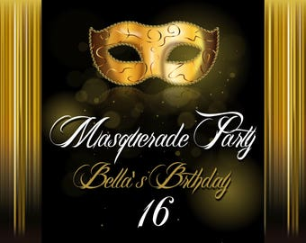 Large Custom Masquerade Party Banner, Masquerade backdrop, Masquerade mask, gold Masquerade mask, Masquerade party decorations ;1400071