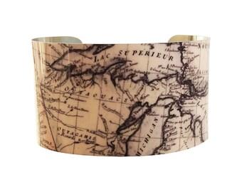 Vintage Great Lakes Map Bracelet - Cuff Bracelet - Cuff Jewelry Map - Vintage Map - Map Jewelry - Large Cuff Bracelet