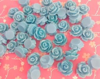 Blue Rose Cab | Resin Rose Cabochon | Flower Cabochon | Resin Flower | Resin Rosebuds | 9MM Resin Rose | Flatback Rose | 24 Pieces