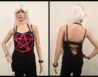 Pentagram top Handmade Size M/L Custom Ready for Shipping shredded braided witchcraft