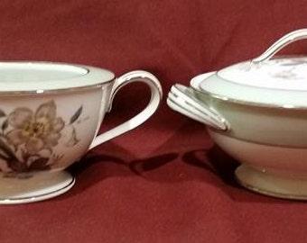 Vintage Noritake Shasta Pattern Creamer and Sugar Bowl