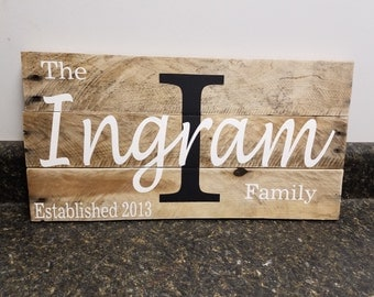 Custom Name Wood Sign, Wedding Gift Sign, Pallet Last Name Sign,  Established Date Family Sign,Anniversary Gift