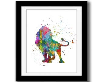 SALE - Rainbow Watercolor Wall Art Decor - Printable Art - Wall Art Download - Lion Wall Decor - Safari Animal - Watercolor Paint Splatter