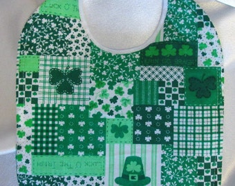 St. Patrick's Day Patchwork Baby Bib- quilted, absorbent- CUTE!