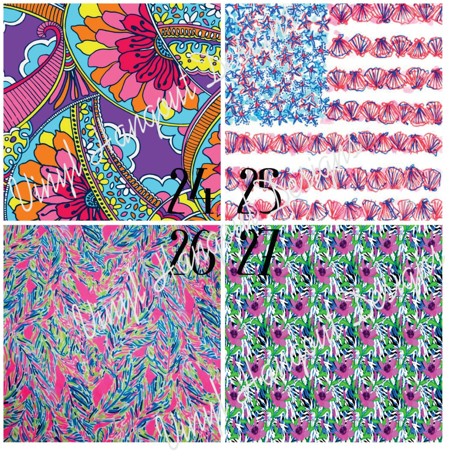 Lilly Inspired 24 27 12x12 Lilly Pulitzer Pattern Vinyl