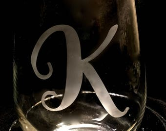 Monogram your own stemless wine glasses