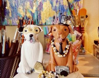Clay Dog Cake Topper - Pitbull Cake Topper, Staffordshire Terrier Cake Topper, Wedding Cake Topper, Custom Cake Topper, Cake Toppers,