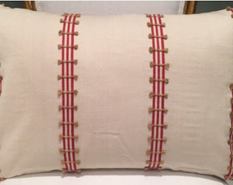 Malabar red striped fabric with tassels 14x20 pillow