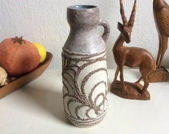 Vintage creme abstract pattern German ceramic vase by Strehla handpainted