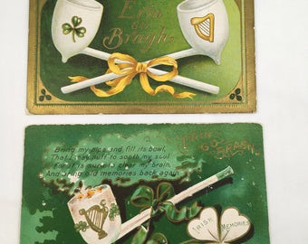 Three 1910 St. Patrick's Day Greeting Postcards  Antique Post Cards