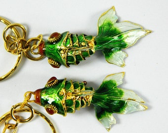 A Pair Of Green Cloisonne Copper Enamel Articulated Goldfish Koi Fish Figurine,Pendant & Earrings Eardrops Component,Decoration Ornament,