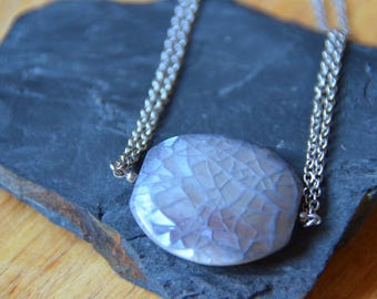 Mother of Pearl Pendant on Stainless Steel Chain