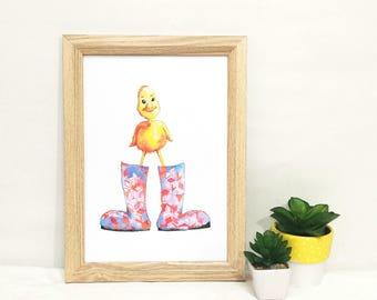 Tiny Duck Art Print - Little Birds Collection