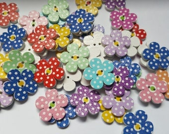 20mm Polka dot flower buttons, Craft buttons, Buttons, Sewing buttons, Scrapbooking, Flower buttons, Polka dot buttons, Polka dot, Flower