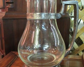 Vintage Hotel Water Pitcher Glass and Silver