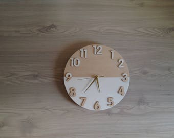 Wooden wall clock with numbers, Wall Decor, Unique clock, Wood Clock, Modern Clock, Wedding gift, Housewarming gift
