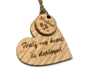 Deployment Jewelry - Military Jewelry - Half My Heart - Army Necklace - Wood Necklace - Deployed Necklace - Military Wife Necklace - Army