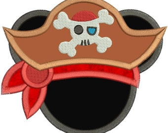 Mickey Mouse Pirate Applique Design 3 sizes instant download