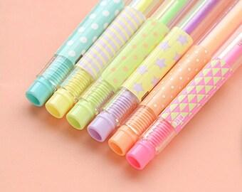 Set Of 6 Color Pens, 6 Cute Pens, Rainbow Pens, Colour Pens