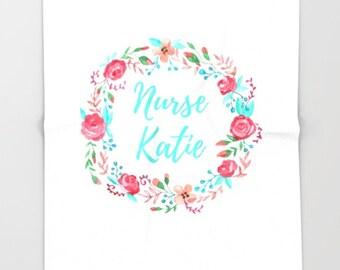 Personalized Nurse Gift for Her, Fleece Blanket Throw, Nurse Appreciation Gifts, Soft Blanket, Floral Wreath Decor, Throw Blanket Fleece